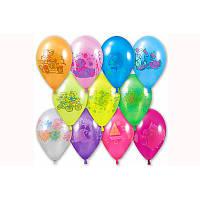 """Воздушные шарики """"Металлик ассорти с рисунком 10""""  100 шт."""