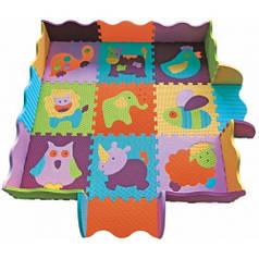 """Детский коврик-пазл Baby Great """"Веселый зоопарк"""" с бортиком  122x122 см"""