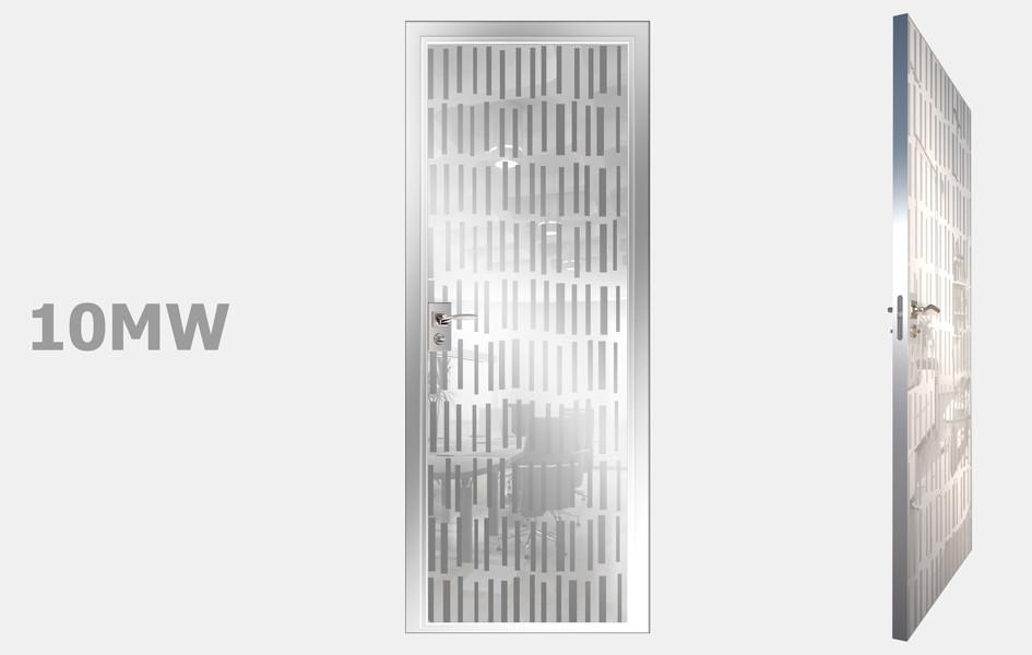Двери межкомнатные с зеркалом пескоструй Моноколор белый рис. 10-19
