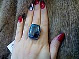 Превосходное квадратное кольцо с камнем хризоколла в серебре кольцо с хризоколлой 18-18,5 размер., фото 5