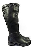 Зимние сапоги кожаные низкий каблук, фото 1