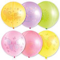 """Воздушные шарики """"Неон ассорти с рисунком 18""""  25 шт."""
