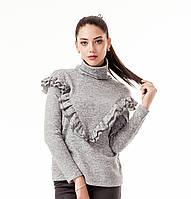 Женский джемпер с высоким воротником и рюшами. Модель К082_серый ангора., фото 1