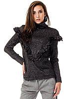 Женский джемпер с высоким воротником и рюшами. Модель К082_черный люреск., фото 1