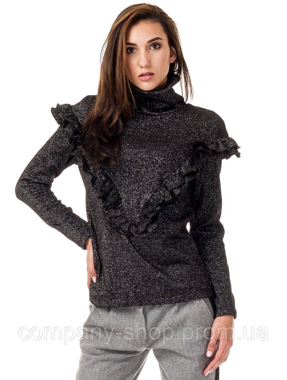 Женский джемпер с высоким воротником и рюшами. Модель К082_черный люреск.