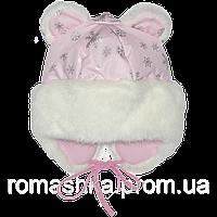 Детская зимняя термо шапка р. 50 на флисе с меховой опушкой и завязками верх плащевка 1538 Розовый