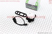 Велосипедный фонарь передний 3 диода 20 lumen, Li-ion 3.7V 650mAh зарядка от USB влагозащитний