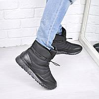 Ботинки женские зимние дутики Rex черные, обувь зимняя