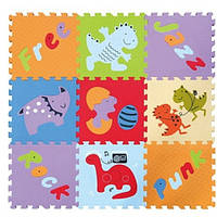 """Детский коврик-пазл Baby Great """"Развлечения динозавров"""" 92х92 см"""