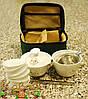 Переносной набор для чайной церемонии в сумке (чахай, гайвань, 6 чайных пиал, пинцет, ситечко)