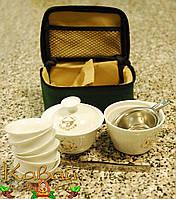 Переносной набор для чайной церемонии в сумке (чахай, гайвань, 6 чайных пиал, пинцет, ситечко), фото 1