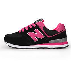 Кроссовки New Balance 574 Black Pink Черные женские реплика