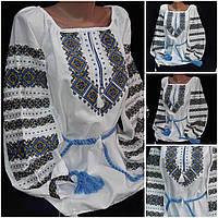 """Блузка с вышивкой """"Катерина"""" на домотканом полотне, 42-58 р-ры, 690/620 (цена за 1 шт. + 70 гр.)"""