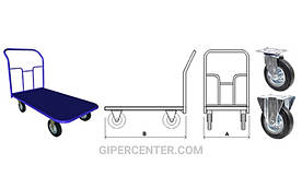 Тележка ручная платформенная PT-160 четырехколесная, до 640 кг
