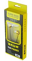 Наушники вакуумные BRUM M-8, с микрофоном, золотистые