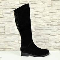 Сапоги черные женские демисезонные замшевые на невысоком каблуке. 36 размер