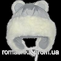 Детская зимняя термо шапка р. 50 на флисе с меховой опушкой и завязками верх плащевка 1538 Серый