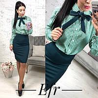 Женская рубашка в клетку с галстуком-бантиком, фото 1