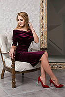 Бархатное платье цвет марсала