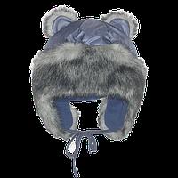 Детская зимняя термо шапка р. 46 на флисе с меховой опушкой и завязками верх плащевка 1538 Синий