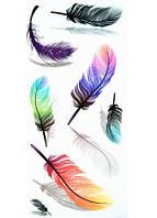 Временная татуировка разноцветные перья