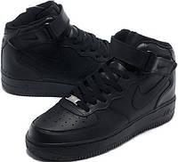 Кожаные кроссовки черные Nike Air Force High Black.