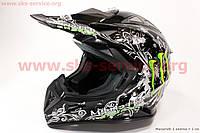 Кроссовый шлем L черный глянец с рисунком