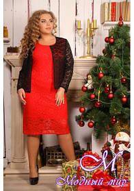 Батальное гипюровое платье с пиджаком (р. 48-90) арт. Фрида