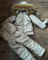 Бежевый зимний комплект на овчине moncler в наличии