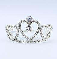 Диадема свадебная металлическая с камнями и стразами серебристого цвета