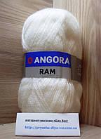 Мохеровая пряжа (100г/500м, 40%-мохер, 60%-акрил) Angora Ram 501(белый)