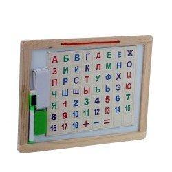 Двостороння дошка для малювання з магнітними літерами та цифрами.