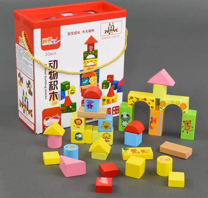 Конструктор деревянный.Детский конструктор Городок на 32 детали.Детская игрушка конструктор.