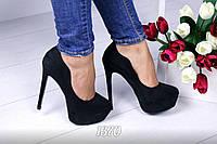Только 40 размер! Туфли женские на каблуке черные экозамш