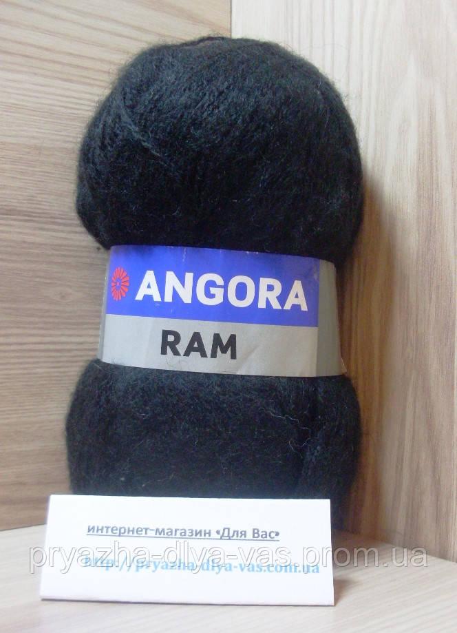 Мохеровая пряжа (100г/500м, 40%-мохер, 60%-акрил) Angora Ram 585(чёрный)