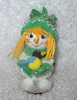 Формовая стеклянная игрушка Девочка с синичкой