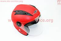 Мотошлем открытый красный  матовый   размер -  S