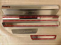 Защитные хром накладки на пороги mitsubishi outlander I (митсубиси аутлендер) 2001-2006