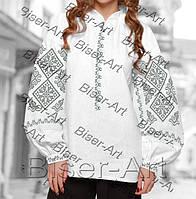 Заготовка для вишивки жіночої сорочки бохо В-63 на габардині 9872686132413