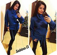 Женский теплый вязаный свитер туника  р.42-46
