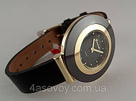 Часы женские Guardo - Italy, цвет желтое золото, черный ремешок