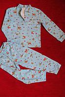 Детская пижама голубая олененки зайчики полотно интерлок, фото 1