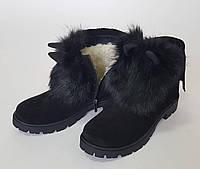 Зимние ботинки для девочек с ушками мех кролик