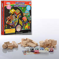 Набор для творчества MK 0119 (12шт) стройтехника(дерев)3шт,клей,краски,кисточка,в кор-ке,30-29-5см