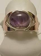 Кольцо серебряное с золотом и аметистом Мудрость