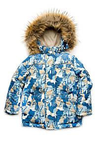 """Куртка зимняя для мальчика """"Буквы"""" 110-134 см"""