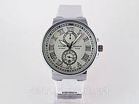 Женские часы - Ulysse Nardin - Le Locle на белом каучуковом ремешке, цвет корпуса серебро, светлый циферблат