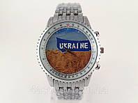 Часы мужские с Гербом Украины цвет серебро, стальной браслет, фото 1