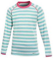 Термофутболка с длинным рукавом Craft Warm Wool CN J icicle/white/metro - 146 см