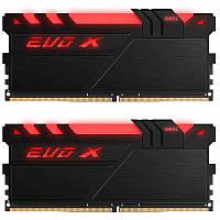 Оперативная память для компьютера 8Gb x 2 (16Gb Kit) DDR4, 3200 MHz, Geil Evo X Black, 16-18-18-36, 1.35V, с радиатором, LED подсветка